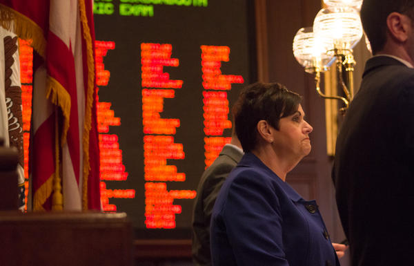 State Rep. Natalie Manley, a Democrat from Joliet, presides over the House during debate of the Reproductive Health Act.