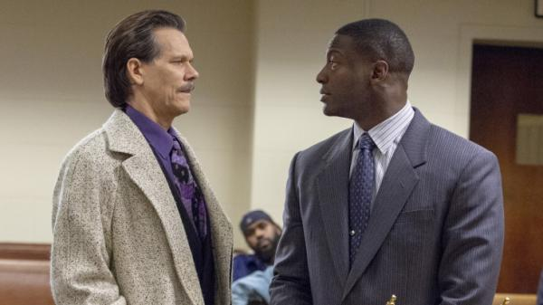 Kevin Bacon, left, and Aldis Hodge play an FBI agent and a district attorney who team up to root out corruption in the Showtime series <em>City on a Hill.</em>