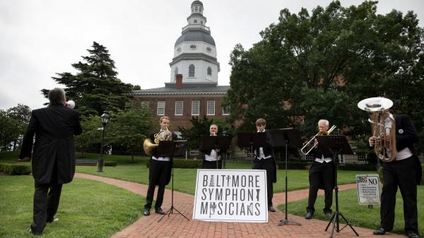 Baltimore Symphony Orchestra musicians performing at the state capitol, in Annapolis, June 13, to urge Gov. Larry Hogan to release state funding for the financially strapped orchestra.