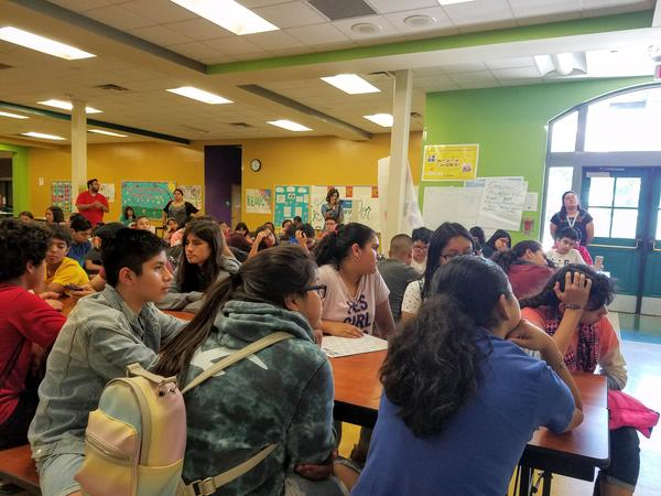 Students listen to guest speaker Rosie Castro on the last day of the MAS-LI camp.