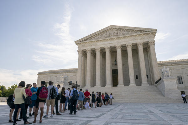 Visitors lined up at the Supreme Court in Washington, D.C., on Monday morning as the justices prepared to hand down decisions.