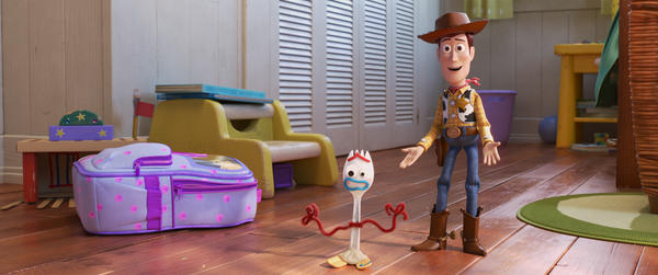 In the fourth installment of the <em>Toy Story</em> franchise, Bonnie comes home from kindergarten with Forky, a plastic fork with googly eyes and pipe cleaner hands voiced by Tony Hale. Sheriff Woody (voiced by Tom Hanks) has aged into an avuncular figure.