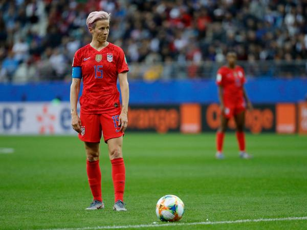 The U.S. will face its first major test in the Women's World Cup Thursday, as it plays Sweden in the final match of the group stage. U.S. forward Megan Rapinoe is seen here during the U.S. game against Thailand.