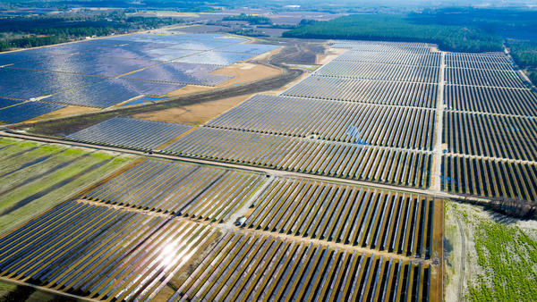 An aerial view of the 52-megawatt solar farm built by Silicon Ranch in Hazlehurst, Ga. Ever cheaper and better solar technology, available land and lots of sunshine are driving demand for massive, utility-scale solar projects across the American Southeast.