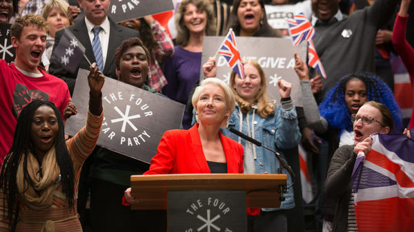 Emma Thompson plays Vivienne Rook, a plain-speaking businesswoman turned populist politician, in the HBO series <em>Years and Years. </em>