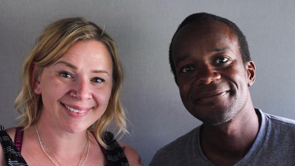 Tina Dietz and Patrick Conteh at StoryCorps in Bismarck, N.D.