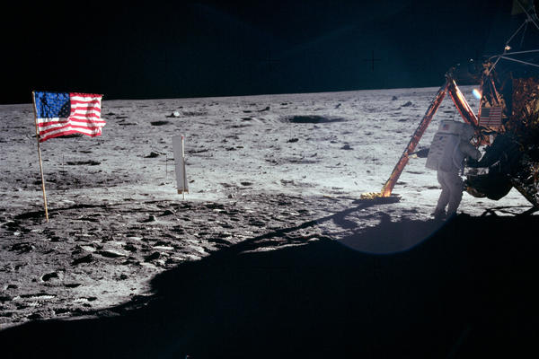 """Astronaut Neil Armstrong took the majority of the photos while he was on the moon with Edwin """"Buzz"""" Aldrin. As a result, most pictures of an astronaut on the moon during Apollo 11 are of Aldrin. This is one of the rare photos of Armstrong."""