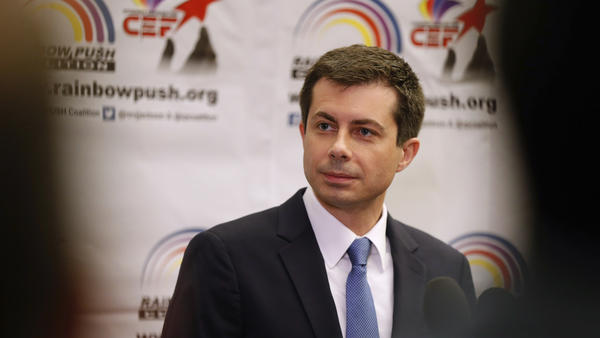 South Bend, Ind., Mayor Pete Buttigieg speaks during a news conference at the Rainbow PUSH Coalition Annual International Convention in Chicago on Tuesday.