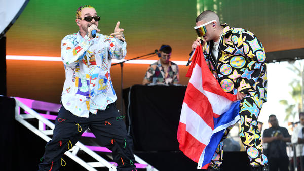 J Balvin (left) onstage with Bad Bunny at Coachella 2019. Their collaborative album, <em>Oasis</em>, is out now.