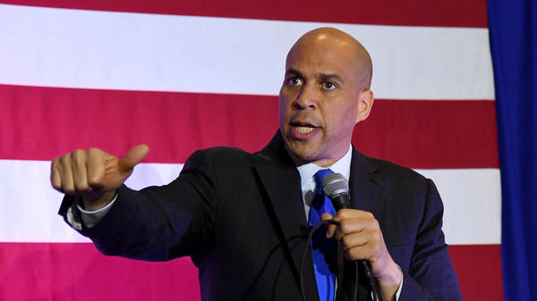 Sen. Cory Booker, D-N.J., speaks at an event in February in North Las Vegas, Nev., while campaigning for the 2020 Democratic presidential nomination.
