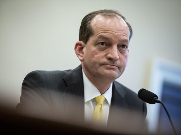 Labor Secretary Alexander Acosta testifies during a House Appropriations Committee hearing on April 3.
