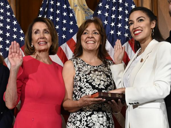 House Speaker Nancy Pelosi of California (left) is trying to move on from a public clash with Rep. Alexandria Ocasio-Cortez, D-N.Y., (right) and other progressives.