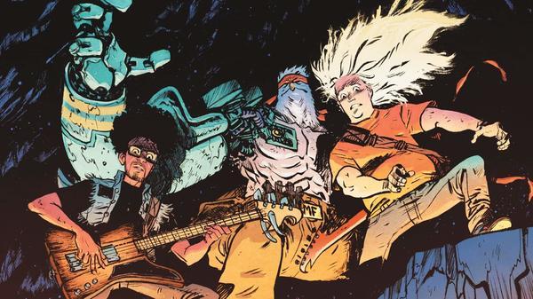 Daniel Warren Johnson's <em>Murder Falcon</em> comic features an anthropomorphic, bionic falcon who kills demons from the underworld by the power of guitar shredding.