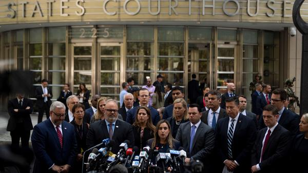 """Joaquin Guzmán, also known as """"El Chapo,"""" was sentenced Wednesday to a life term in prison plus 30 years. After the sentencing in a Brooklyn courthouse, U.S. attorneys and other officials greeted the media, including Ariana Fajardo Orshan, U.S. attorney for the Southern District of Florida."""