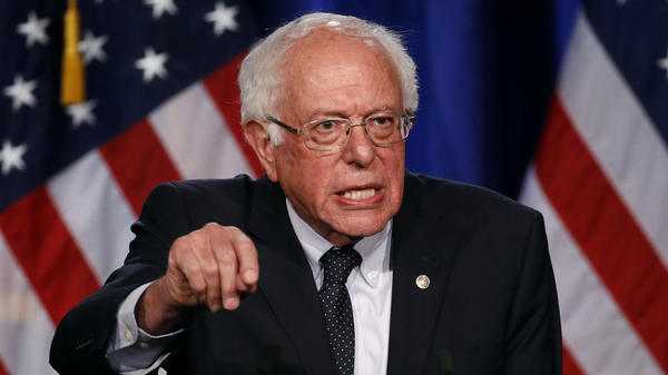 """Democratic presidential candidate Sen. Bernie Sanders of Vermont speaks about his """"Medicare for All"""" proposal on Wednesday at George Washington University."""
