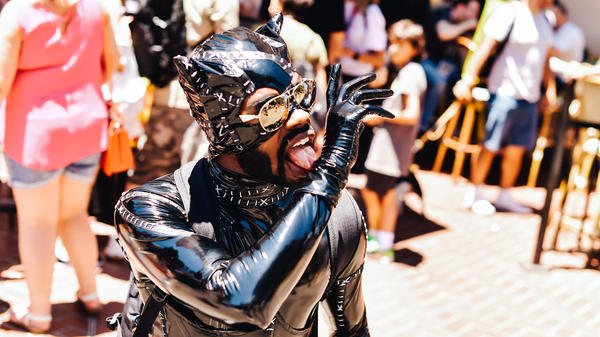 There were a lot of people dressed as Catwoman at Comic-Con on Saturday, but this gentleman took the catnip fishie.