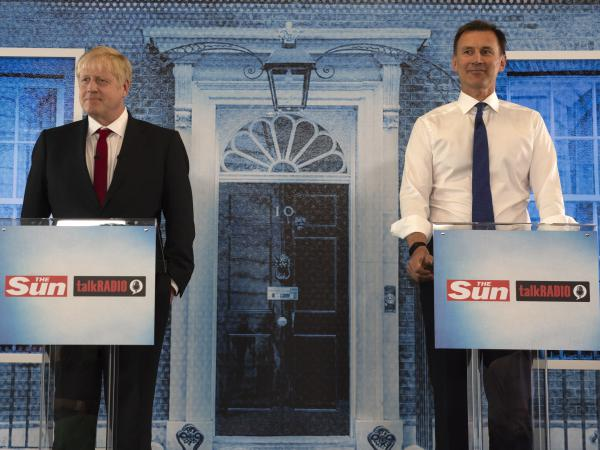 Boris Johnson and Jeremy Hunt debate on July 15 in London. Awaiting the next prime minister will be an international crisis with Iran, stemming from its seizure of a British-flagged commercial oil tanker.