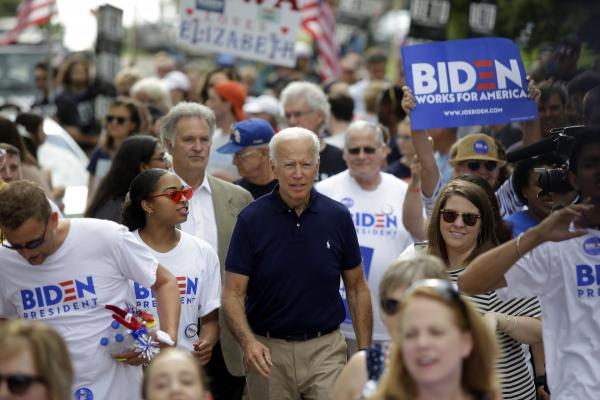 In this week's Democratic debate, former Vice President Joe Biden is expected to be tested again on race. Above, he attends the Fourth of July parade in Independence, Iowa.