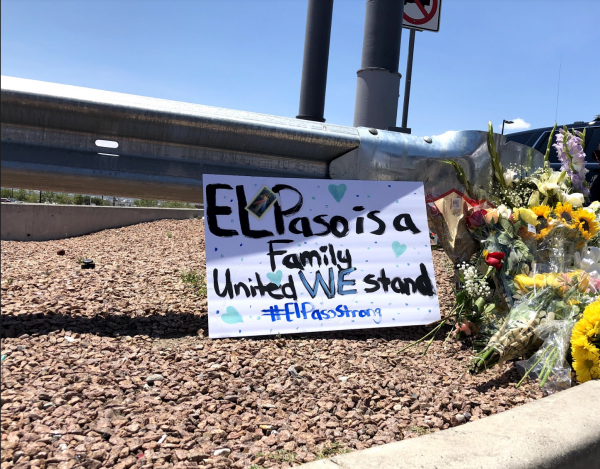 A memorial outside of the Walmart where a mass shooting took place in El Paso.