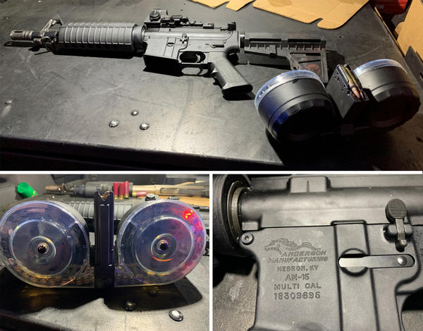 """The gun used in the Dayton shooting (top) has a barrel that's shorter than the federal minimum for a rifle. Legally classified as a pistol, it was fed by a 100-round """"double drum"""" magazine (lower left). A close-up of the gun's lower receiver (bottom right) shows the only part of the gun that is legally considered a firearm."""
