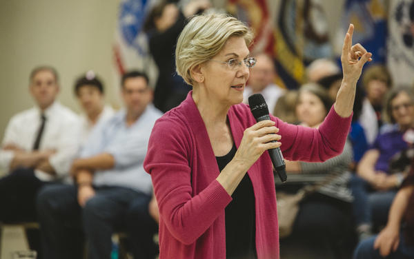 Elizabeth Warren at a campaign stop at the AMVETS in Chillicothe, Ohio, on May 10. Warren released her plan to combat gun violence on Saturday.
