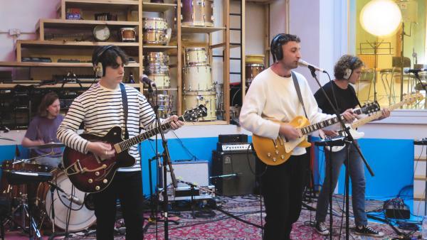 Sea Girls performs inside The Pool Recording Studio in London.