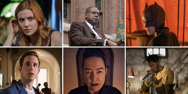 (Clockwise from upper left) Kennedy McMann in <em>Nancy Drew</em>, Forest Whitaker in <em>Godfather of Harlem</em>, Ruby Rose in <em>Batwoman</em>, TJ Atoms in <em>Wu-Tang: An American Saga, </em>Kathy Bates in <em>American Horror Story: 1984</em>, Ben Platt in <em>The Politician.</em>