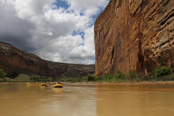 Rafters float past Steamboat Rock at the confluence of the Yampa and Green Rivers in Dinosaur National Monument.