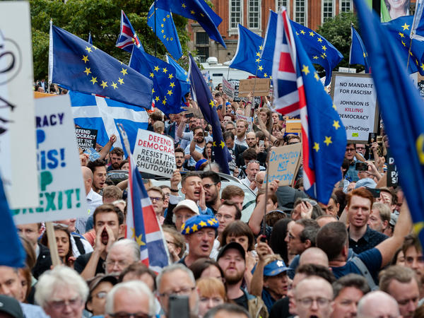Thousands of demonstrators gather outside Houses of Parliament on Wednesday in London to protest against plans to suspend Parliament.
