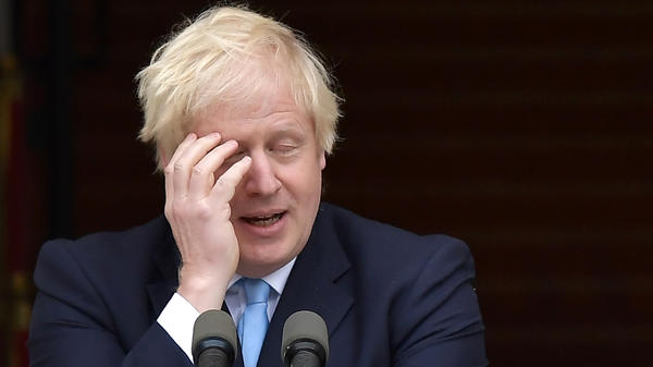British Prime Minister Boris Johnson, seen at a joint news conference Monday with Irish Taoiseach Leo Varadkar in Dublin. Johnson has suffered a rough couple of weeks, as lawmakers scuttled first his attempt to maintain a hard Brexit deadline — then, his attempt to call a snap general election.