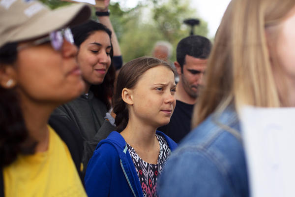 Swedish activist Greta Thunberg, 16, attends a protest outside the White House on Friday. She launched the Friday school strikes last year, and since then, her fame has steadily grown. She is known for speaking in clear and powerful terms about why people — particularly young people — must pay attention to Earth's climate.