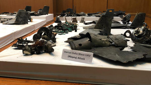 Wreckage described by Saudi defense officials as coming from the airstrikes on the Abqaiq oil refinery.