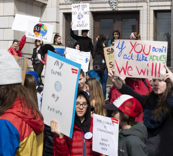 "Missoula High School students join in the nationwide ""climate strike"", March 15, 2019."