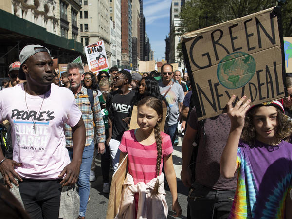 Greta Thunberg, the 16-year-old leader of a global protest against inaction on climate change, marched at a rally in New York City Friday. Around the world, millions of other people joined her.