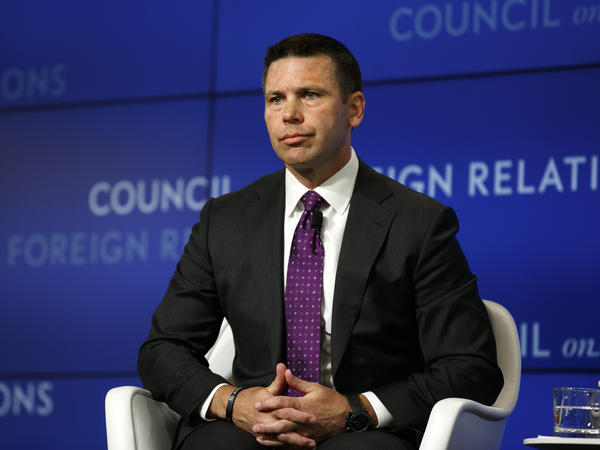Acting Homeland Security Secretary Kevin McAleenan listens to a question at the Council on Foreign Relations on Monday in Washington, D.C.