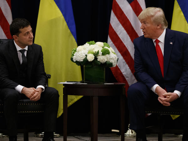 President Trump meets with Ukrainian President Volodymyr Zelenskiy on Wednesday in New York, where they were attending the U.N. General Assembly meeting.