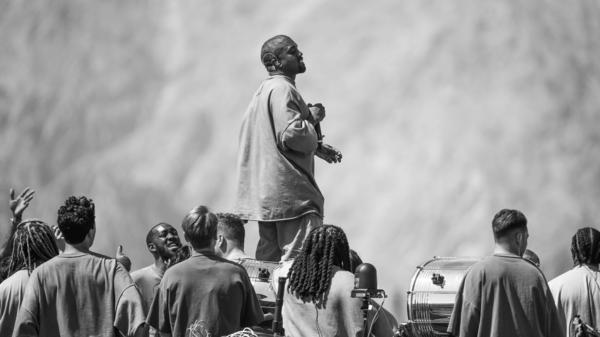 Kanye West performs Sunday Service during the 2019 Coachella Valley Music And Arts Festival in April 2019. The rapper's ninth studio album, <em>Jesus Is King</em>, is available now.