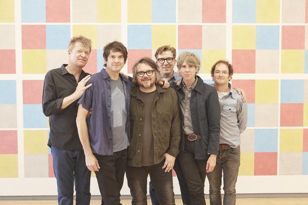 Wilco, left to right: Nels Cline, Glenn Kotche, Jeff Tweedy, Mikael Jorgensen, Pat Sansone, John Stirratt.