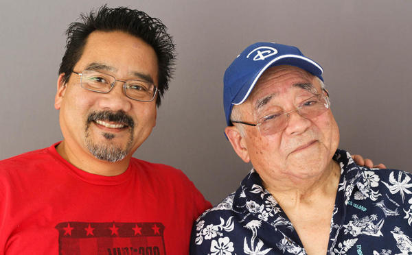 Father and son artists, Vince Ito (left) and Willie Ito, at their StoryCorps interview in Los Angeles last month.