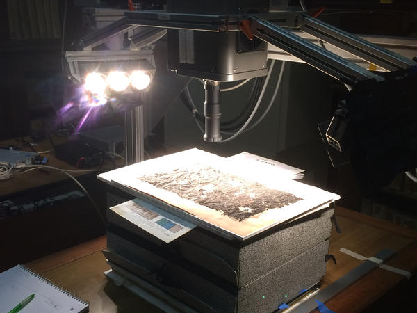 The parts of the scroll were scanned using shortwave-infrared hyperspectral imaging.