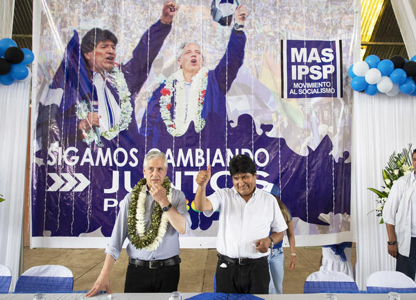 Bolivian President Evo Morales (right) with Vice President Álvaro García Linera launch their campaign for reelection in Chimore, Cochabamba department, Bolivia on May 18. The election is set for Oct. 20.