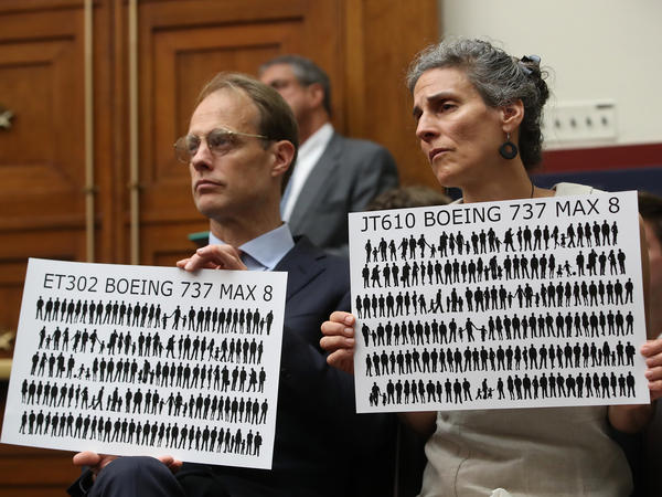 Michael Stumo and his wife Nadia Milleron, whose daughter was killed in the Ethiopian Airlines Flight crash, attend a House committee hearing June 19. They and other victims' families have been a driving force in the campaign to keep the Boeing 737 Max grounded.