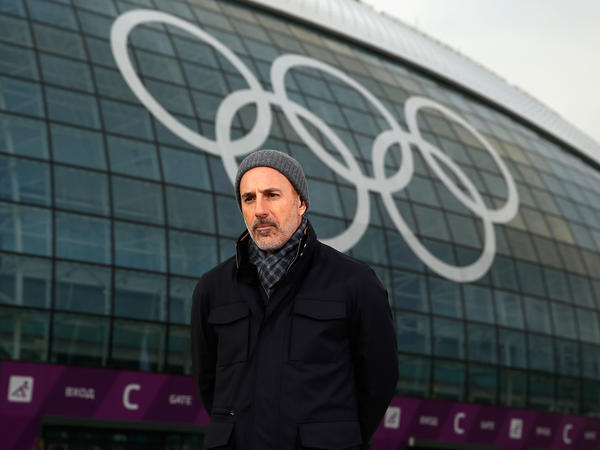 Matt Lauer, seen reporting for the NBC <em>Today</em> show at the 2014 Winter Olympics in Sochi, Russia, where the sexual assault described in Ronan Farrow's new book is alleged to have taken place.