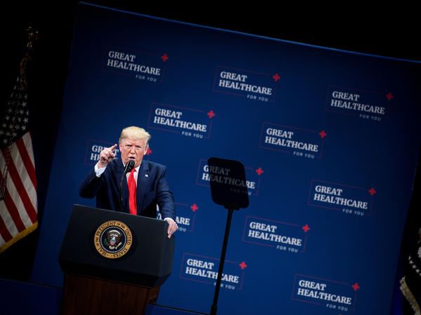 "President Trump talked to seniors about health care in central Florida in early October. ""We eliminated Obamacare's horrible, horrible, very expensive and very unfair, unpopular individual mandate,"" Trump told the crowd."