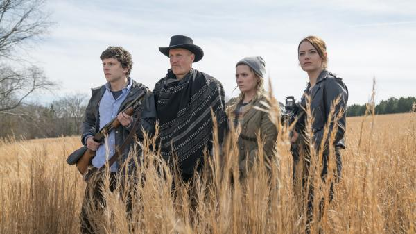 Jesse Eisenberg, Woody Harrelson, Abigail Breslin and Emma Stone reunite for a second dose of celebrity cameos and zombie killing in <em>Zombieland: Double Tap</em>.