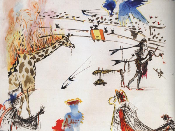 The 1966 Salvador Dalí etching <em>Burning Giraffe</em>, valued at $20,000, was swiped from a San Francisco gallery on Sunday.