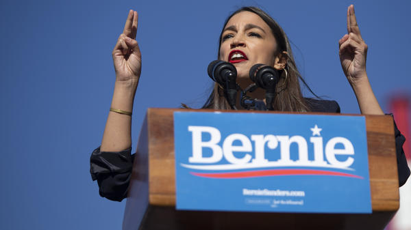 Rep. Alexandria Ocasio-Cortez, D-N.Y., speaks during a rally for presidential hopeful Sen. Bernie Sanders in Queens, N.Y., on Saturday.