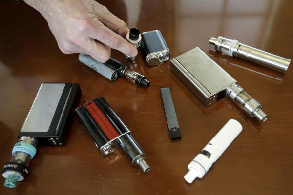 Vaping devices now come in many shapes and sizes; these were confiscated from students by a high school principal in Massachusetts in 2018.