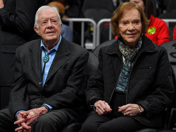 """After being taken to a hospital for observation and treatment of a minor pelvic fracture, former President Jimmy Carter """"is in good spirits and is looking forward to recovering at home,"""" the Carter Center says."""