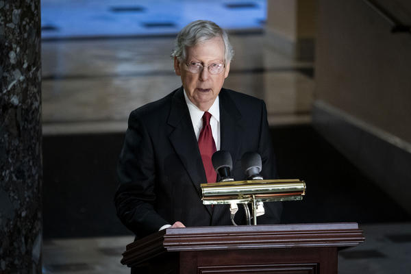 Senate Majority Leader Mitch McConnell, R-Ky., speaks during the memorial service.